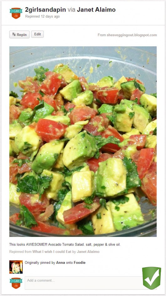 Avocado Salad Original Pin: 2 Girls and a Pin