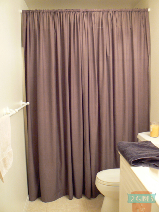 DIY Shower Curtain from Ikea Sheets by 2 Girls and a Pin