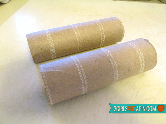 Step 2 - 2 Girls and a Pin tested Home-made Last-minute Toilet Paper Roll and Glowstick Halloween Decorations