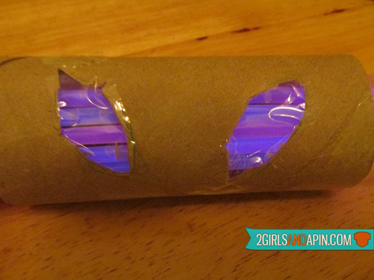 Step 14 - 2 Girls and a Pin tested Home-made Last-minute Toilet Paper Roll and Glowstick Halloween Decorations