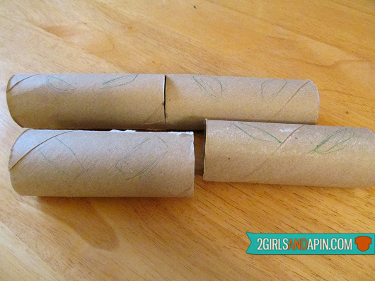 Step 3 - 2 Girls and a Pin tested Home-made Last-minute Toilet Paper Roll and Glowstick Halloween Decorations